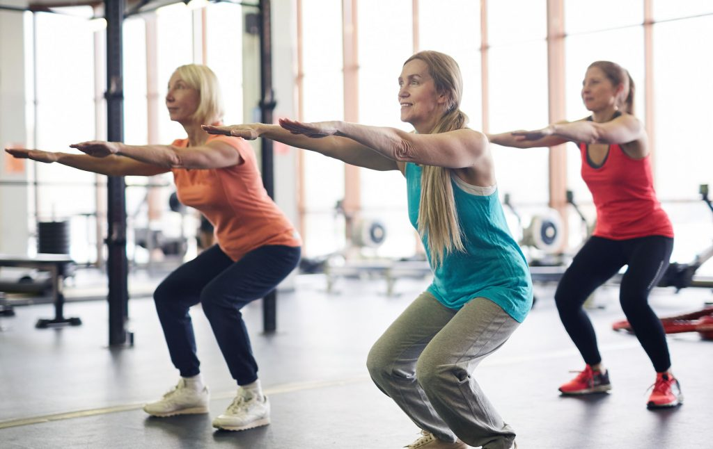 Group fitness class for mature age women