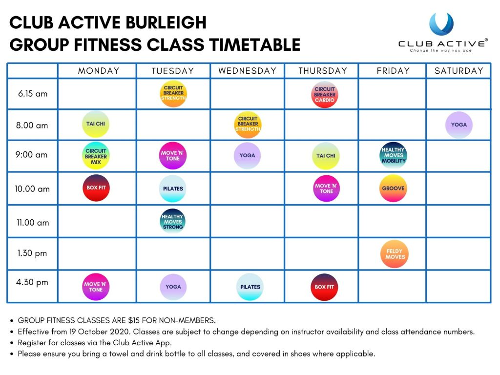 CLUB ACTIVE GROUP FITNESS TIMETABLES_Burleigh_Oct2020